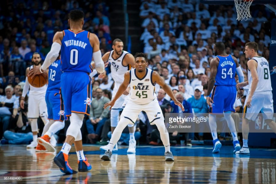 OKLAHOMA+CITY%2C+OK+-+APRIL+25%3A+Donovan+Mitchell+%2345+of+the+Utah+Jazz+guards+Russell+Westbrook+%230+of+the+Oklahoma+City+Thunder+in+Game+Five+during+Round+One+of+the+2018+NBA+Playoffs+on+April+25%2C+2018+at+Chesapeake+Energy+Arena+in+Oklahoma+City%2C+Oklahoma.+NOTE+TO+USER%3A+User+expressly+acknowledges+and+agrees+that%2C+by+downloading+and+or+using+this+photograph%2C+User+is+consenting+to+the+terms+and+conditions+of+the+Getty+Images+License+Agreement.+Mandatory+Copyright+Notice%3A+Copyright+2018+NBAE+%28Photo+by+Zach+Beeker%2FNBAE+via+Getty+Images%29