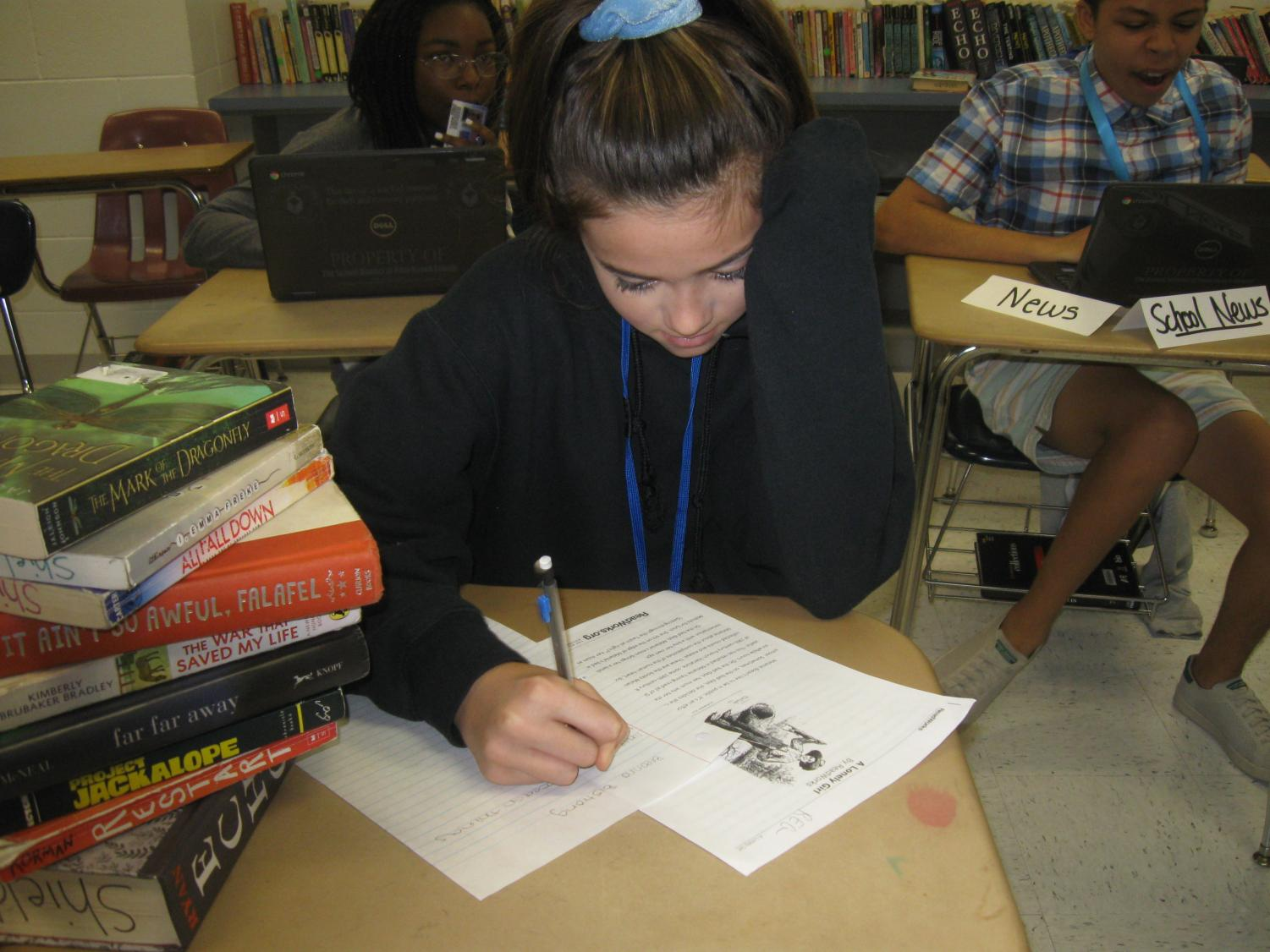 Breanna Bistrong taking a test