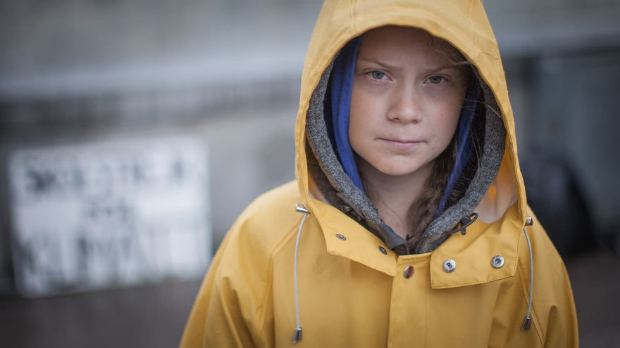 Activist Greta Thunberg Outside of Swedish Parliament